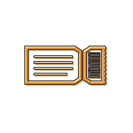 Orange Ticket icon isolated on white background. Vector Illustration