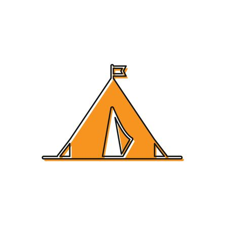 Orange Tourist tent with flag icon isolated on white background. Camping symbol. Vector Illustration