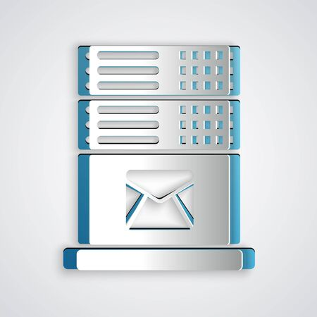 Paper cut Mail server icon isolated on grey background. Paper art style. Vector Illustration Foto de archivo - 129192799