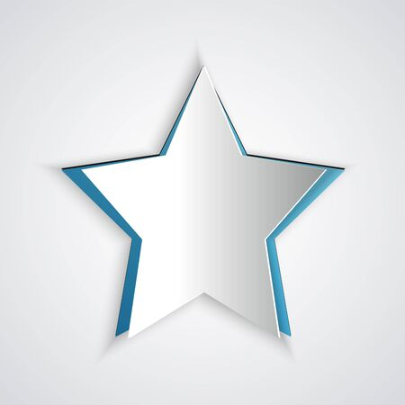 Paper cut Star icon isolated on grey background. Favorite, best rating, award symbol. Paper art style. Vector Illustration