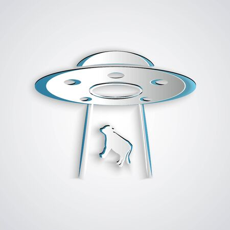 Paper cut UFO abducts cow icon isolated on grey background. Flying saucer. Alien spaceship. Futuristic unknown flying object. Paper art style. Vector Illustration  イラスト・ベクター素材