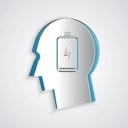 Paper cut Male head with low battery icon isolated on grey background. Tired man. Paper art style. Vector Illustration