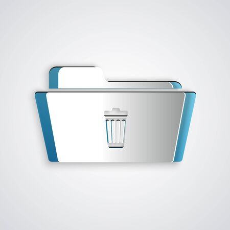 Paper cut Delete folder icon isolated on grey background. Folder with recycle bin. Delete or error folder. Close computer information folder sign. Paper art style. Vector Illustration
