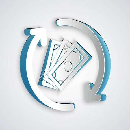 Paper cut Refund money icon isolated on grey background. Financial services, cash back concept, money refund, return on investment, savings account. Paper art style. Vector Illustration Ilustração