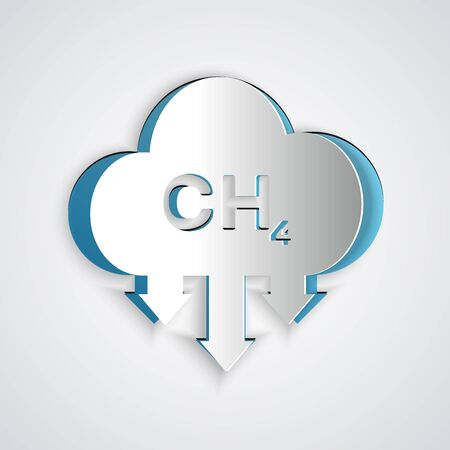 Paper cut Methane emissions reduction icon isolated on grey background. CH4 molecule model and chemical formula. Marsh gas. Natural gas. Paper art style. Vector Illustration