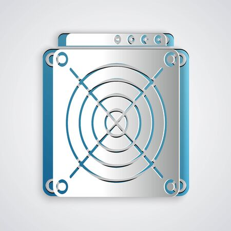 Paper cut ASIC Miner icon isolated on grey background. Cryptocurrency mining equipment and hardware. Application specific integrated circuit. Paper art style. Vector Illustration 向量圖像