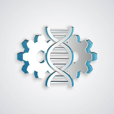 Paper cut Gene editing icon isolated on grey background. Genetic engineering. DNA researching, research. Paper art style. Vector Illustration Çizim