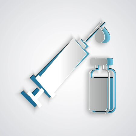 Paper cut Medical syringe with needle and vial or ampoule icon isolated on grey background. Vaccination, injection, vaccine, insulin concept. Paper art style. Vector Illustration Illusztráció