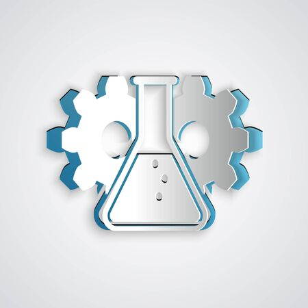 Paper cut Bioengineering icon isolated on grey background. Element of genetics and bioengineering icon. Biology, molecule, chemical icon. Paper art style. Vector Illustration Çizim