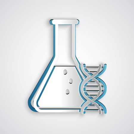 Paper cut DNA research, search icon isolated on grey background. Genetic engineering, genetics testing, cloning, paternity testing. Paper art style. Vector Illustration Çizim