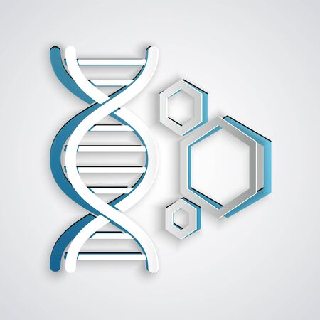 Paper cut Genetic engineering icon isolated on grey background. DNA analysis, genetics testing, cloning, paternity testing. Paper art style. Vector Illustration