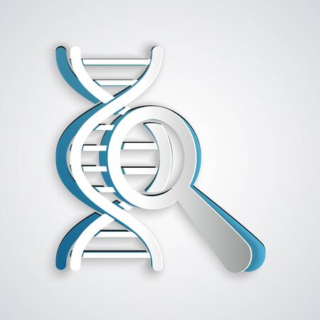 Paper cut DNA research, search icon isolated on grey background. Magnifying glass and dna chain. Genetic engineering, cloning, paternity testing. Paper art style. Vector Illustration