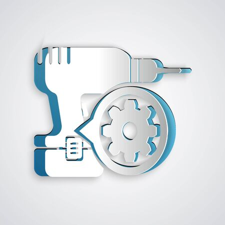 Paper cut Drill machine and gear icon isolated on grey background. Adjusting app, service concept, setting options, maintenance, repair, fixing. Paper art style. Vector Illustration