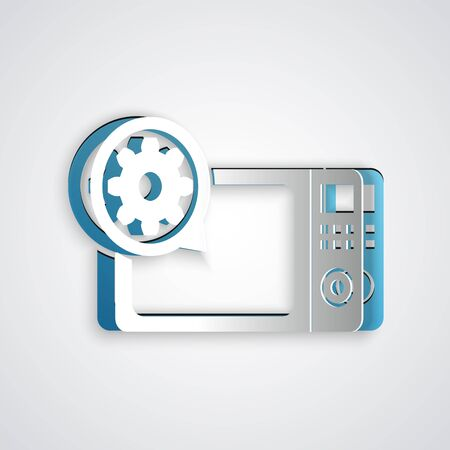 Paper cut Microwave oven and gear icon isolated on grey background. Adjusting app, service concept, setting options, maintenance, repair, fixing. Paper art style. Vector Illustration