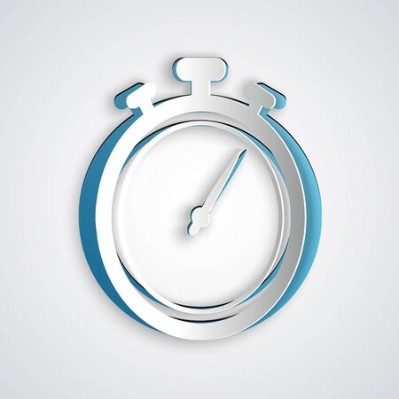 Paper cut Stopwatch icon isolated on grey background. Time timer sign. Chronometer sign. Paper art style. Vector Illustration