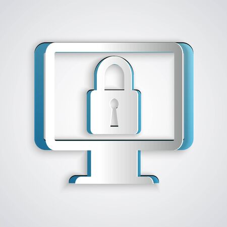 Paper cut Lock on computer monitor screen icon isolated on grey background. Monitor and padlock. Security, safety, protection concept. Safe internetwork. Paper art style. Vector Illustration