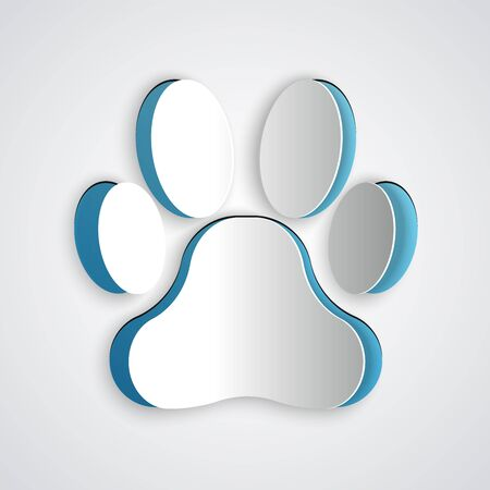 Paper cut Paw print icon isolated on grey background. Dog or cat paw print. Animal track. Paper art style. Vector Illustration
