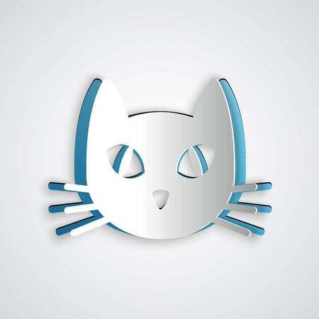 Paper cut Cat icon isolated on grey background. Paper art style. Vector Illustration Иллюстрация