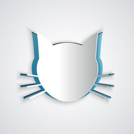 Paper cut Cat icon isolated on grey background. Paper art style. Vector Illustration Archivio Fotografico - 129191095