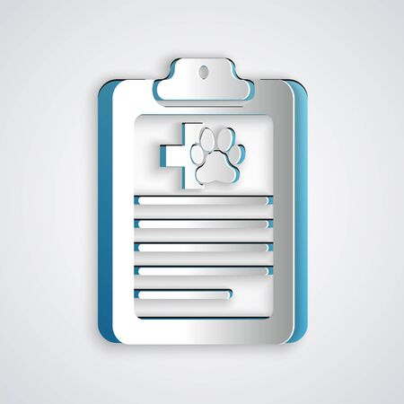 Paper cut Clipboard with medical clinical record pet icon isolated on grey background. Health insurance form. Medical check marks report. Paper art style. Vector Illustration