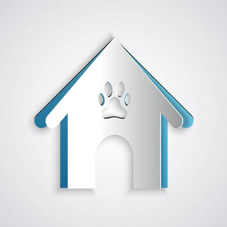 Paper cut Dog house and paw print pet icon isolated on grey background. Dog kennel. Paper art style. Vector Illustration