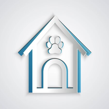 Paper cut Dog house and paw print pet icon isolated on grey background. Dog kennel. Paper art style. Vector Illustration Foto de archivo - 129191928