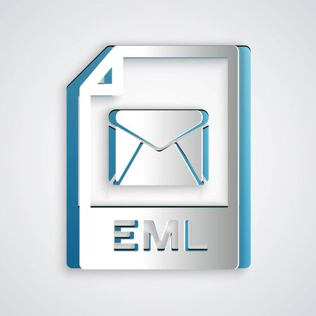 Paper cut EML file document. Download eml button icon isolated on grey background. EML file symbol. Paper art style. Vector Illustration Foto de archivo - 129191884