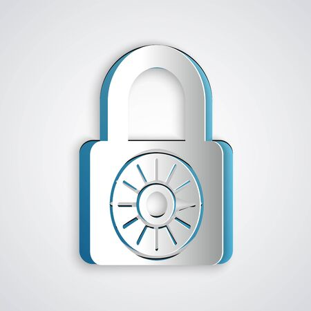Paper cut Safe combination lock wheel icon isolated on grey background. Combination padlock. Security, safety, protection, password, privacy. Paper art style. Vector Illustration