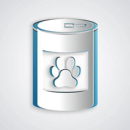 Paper cut Canned food icon isolated on grey background. Food for animals. Pet food can. Dog or cat paw print. Paper art style. Vector Illustration