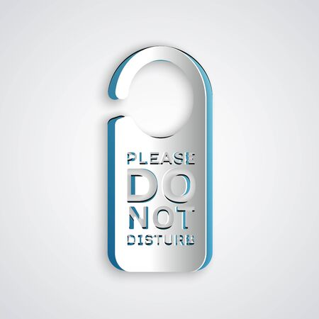 Paper cut Please do not disturb icon isolated on grey background. Hotel Door Hanger Tags. Paper art style. Vector Illustration
