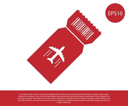 Red Airline ticket icon isolated on white background. Plane ticket. Vector Illustration Ilustração