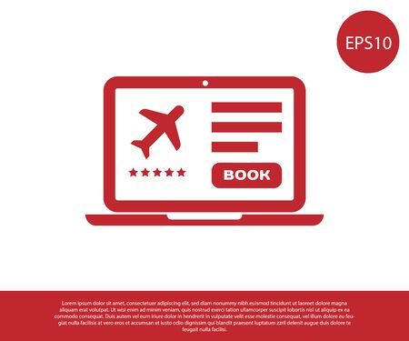 Red Laptop with electronic boarding pass airline ticket icon isolated on white background. Passenger plane mobile ticket for web and app. Vector Illustration