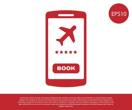 Red Smartphone with electronic boarding pass airline ticket icon isolated on white background. Passenger plane mobile ticket for web and app. Vector Illustration