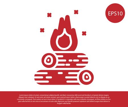 Red Campfire icon isolated on white background. Burning bonfire with wood. Vector Illustration