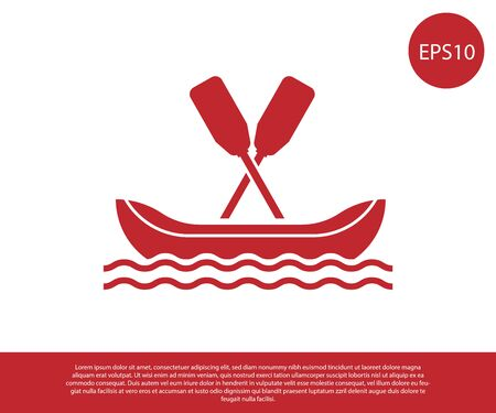Red Rafting boat icon isolated on white background. Kayak with paddles. Water sports, extreme sports, holiday, vacation, team building. Vector Illustration