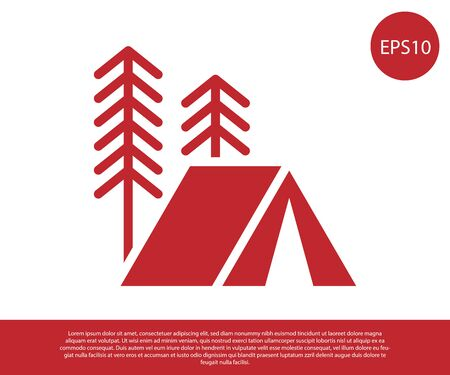 Red Tourist tent icon isolated on white background. Camping symbol. Vector Illustration Stock Illustratie