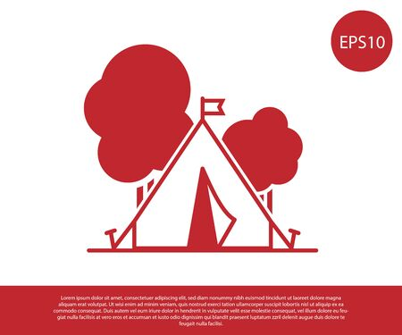 Red Tourist tent with flag icon isolated on white background. Camping symbol. Vector Illustration Stock Illustratie