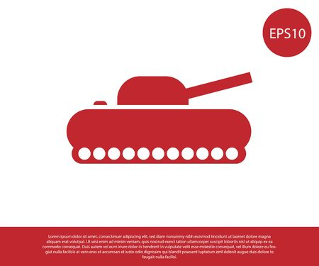Red Military tank icon isolated on white background. Vector Illustration