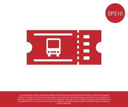 Red Bus ticket icon isolated on white background. Public transport ticket. Vector Illustration