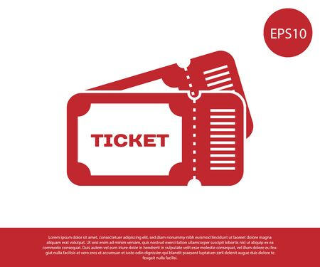 Red Ticket icon isolated on white background. Vector Illustration