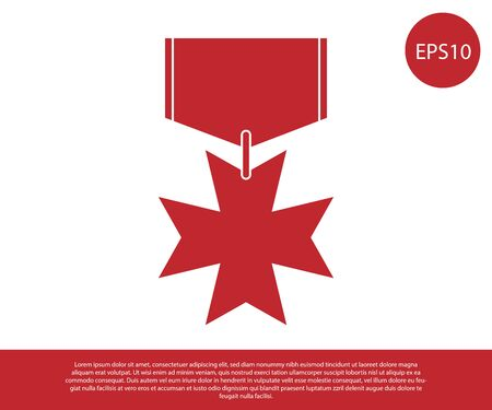 Red Military reward medal icon isolated on white background. Army sign. Vector Illustration Standard-Bild - 129190466