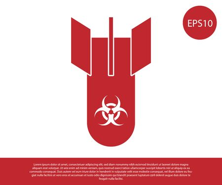 Red Biohazard bomb icon isolated on white background. Rocket bomb flies down. Vector Illustration Stock Illustratie