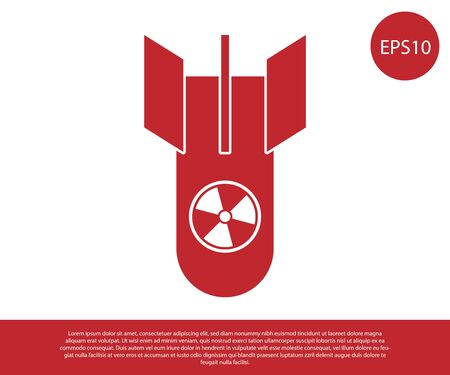 Red Nuclear bomb icon isolated on white background. Rocket bomb flies down. Vector Illustration Stock Illustratie