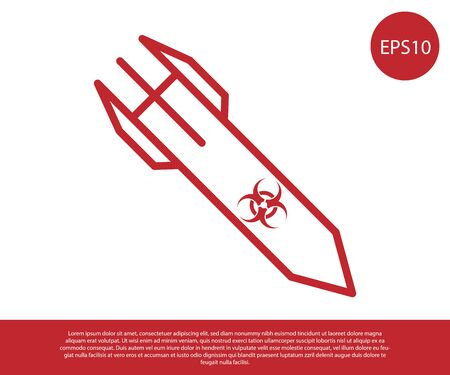 Red Biohazard rocket icon isolated on white background. Rocket bomb flies down. Vector Illustration