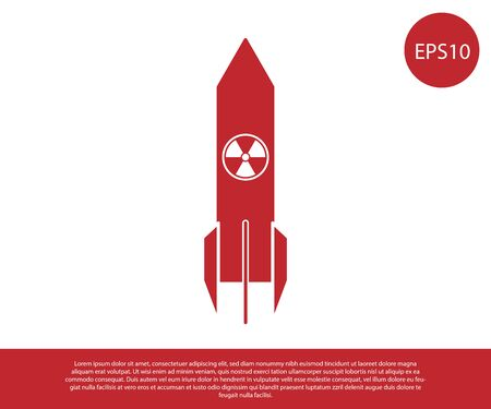 Red Nuclear rocket icon isolated on white background. Rocket bomb flies down. Vector Illustration