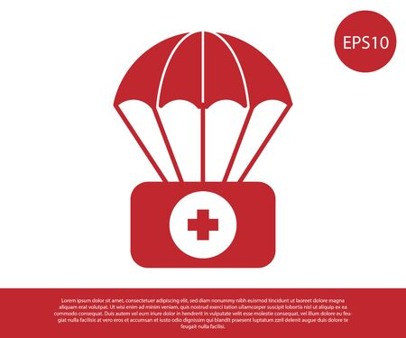 Red Parachute with first aid kit icon isolated on white background. Medical insurance. Vector Illustration Illusztráció