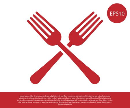 Red Crossed fork icon isolated on white background. Cutlery symbol. Vector Illustration