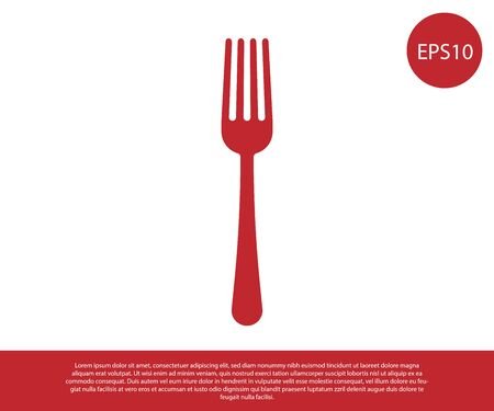 Red Fork icon isolated on white background. Cutlery symbol. Vector Illustration