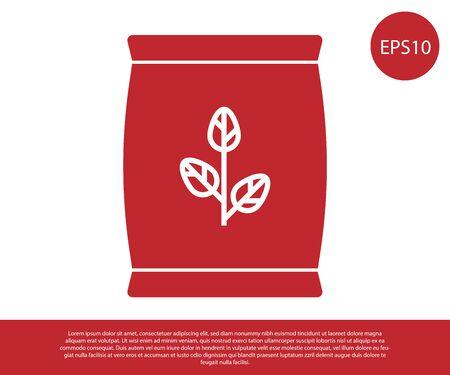 Icona di sacchetto di fertilizzante rosso isolato su priorità bassa bianca. illustrazione vettoriale