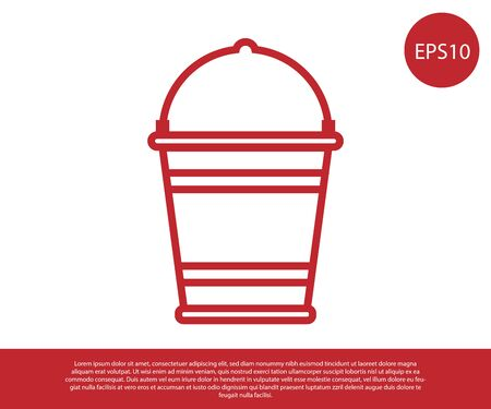 Red Bucket icon isolated on white background. Vector Illustration Stock Illustratie